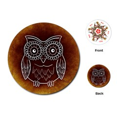 Owl Abstract Funny Pattern Playing Cards (Round)