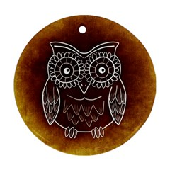 Owl Abstract Funny Pattern Round Ornament (Two Sides)