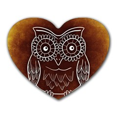 Owl Abstract Funny Pattern Heart Mousepads