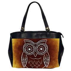Owl Abstract Funny Pattern Office Handbags (2 Sides)