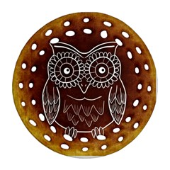 Owl Abstract Funny Pattern Round Filigree Ornament (Two Sides)