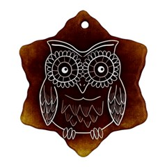 Owl Abstract Funny Pattern Snowflake Ornament (Two Sides)