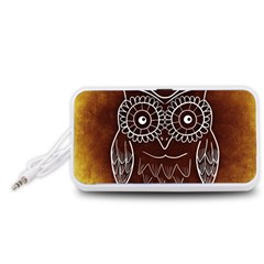 Owl Abstract Funny Pattern Portable Speaker (White)