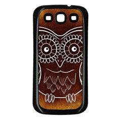 Owl Abstract Funny Pattern Samsung Galaxy S3 Back Case (black)