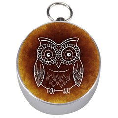 Owl Abstract Funny Pattern Silver Compasses