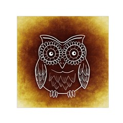 Owl Abstract Funny Pattern Small Satin Scarf (Square)