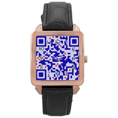 Qr Code Congratulations Rose Gold Leather Watch