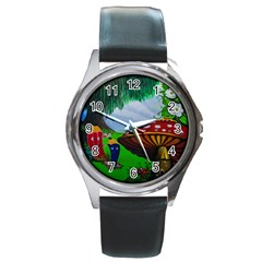 Kindergarten Painting Wall Colorful Round Metal Watch