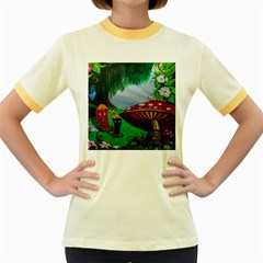 Kindergarten Painting Wall Colorful Women s Fitted Ringer T-Shirts