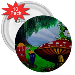 Kindergarten Painting Wall Colorful 3  Buttons (10 pack)
