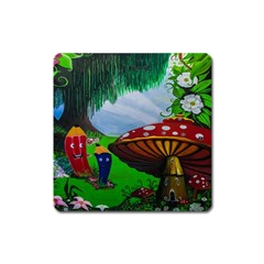 Kindergarten Painting Wall Colorful Square Magnet