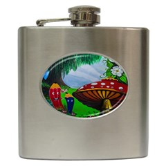 Kindergarten Painting Wall Colorful Hip Flask (6 oz)