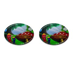 Kindergarten Painting Wall Colorful Cufflinks (Oval)