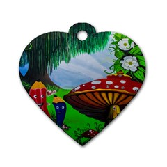 Kindergarten Painting Wall Colorful Dog Tag Heart (Two Sides)