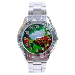 Kindergarten Painting Wall Colorful Stainless Steel Analogue Watch