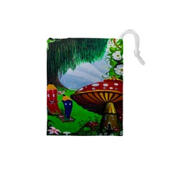 Kindergarten Painting Wall Colorful Drawstring Pouches (small)