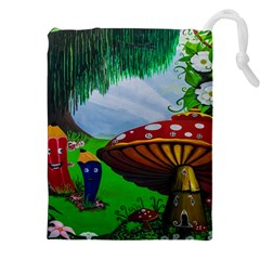 Kindergarten Painting Wall Colorful Drawstring Pouches (XXL)