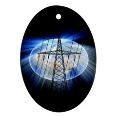 Energy Revolution Current Oval Ornament (Two Sides)