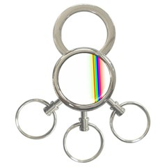 Rainbow Side Background 3-Ring Key Chains