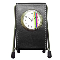 Rainbow Side Background Pen Holder Desk Clocks