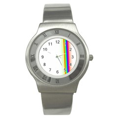 Rainbow Side Background Stainless Steel Watch