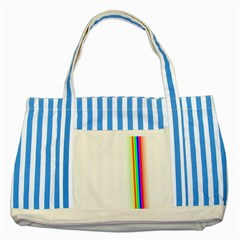 Rainbow Side Background Striped Blue Tote Bag