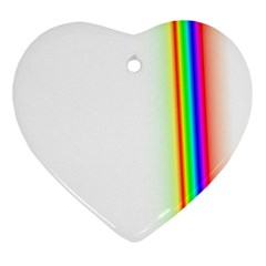 Rainbow Side Background Heart Ornament (Two Sides)