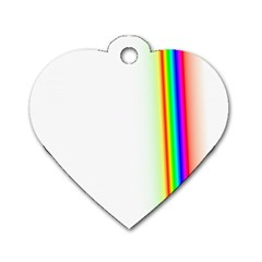 Rainbow Side Background Dog Tag Heart (Two Sides)