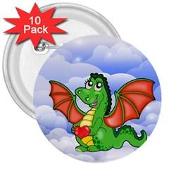 Dragon Heart Kids Love Cute 3  Buttons (10 pack)