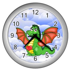Dragon Heart Kids Love Cute Wall Clocks (Silver)
