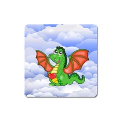 Dragon Heart Kids Love Cute Square Magnet