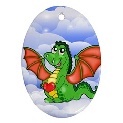 Dragon Heart Kids Love Cute Oval Ornament (Two Sides)