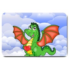 Dragon Heart Kids Love Cute Large Doormat