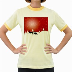 Reindeer In Snow Women s Fitted Ringer T-Shirts