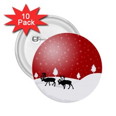Reindeer In Snow 2.25  Buttons (10 pack)