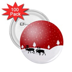Reindeer In Snow 2.25  Buttons (100 pack)