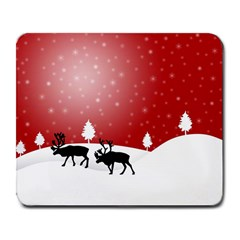 Reindeer In Snow Large Mousepads