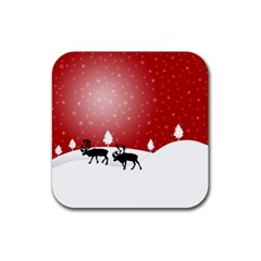 Reindeer In Snow Rubber Square Coaster (4 Pack)