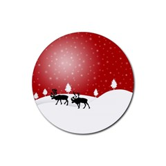 Reindeer In Snow Rubber Round Coaster (4 pack)