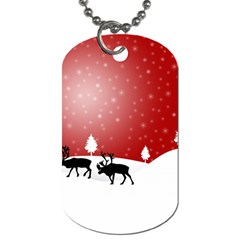 Reindeer In Snow Dog Tag (One Side)
