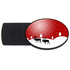 Reindeer In Snow USB Flash Drive Oval (2 GB)