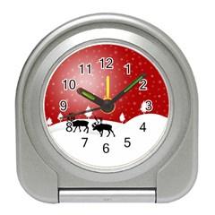 Reindeer In Snow Travel Alarm Clocks