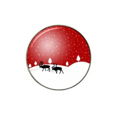 Reindeer In Snow Hat Clip Ball Marker (10 pack)