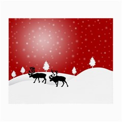 Reindeer In Snow Small Glasses Cloth