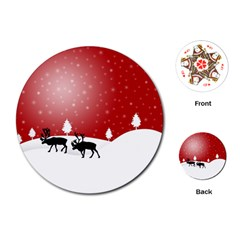 Reindeer In Snow Playing Cards (Round)