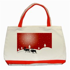 Reindeer In Snow Classic Tote Bag (Red)