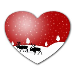 Reindeer In Snow Heart Mousepads