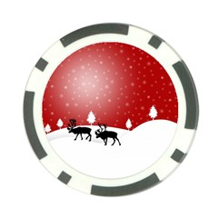 Reindeer In Snow Poker Chip Card Guard (10 pack)