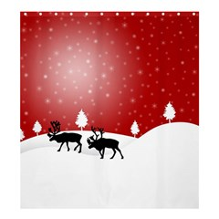 Reindeer In Snow Shower Curtain 66  x 72  (Large)