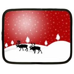 Reindeer In Snow Netbook Case (xxl)